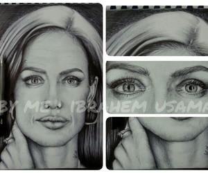 Angelina Jolie, ballpoint, and portrait image