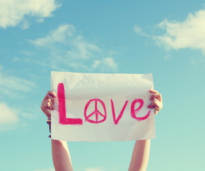 love, peace, and sky image