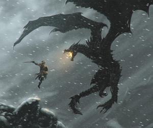 skyrim, dragon, and dovahkiin image