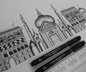 architecture, art, and black and white image