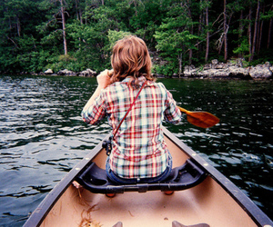 boat, girl, and nature image