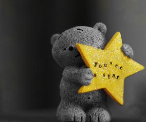 stars, bear, and yellow image
