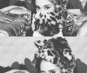 ariana grande, santa tell me, and black and white image