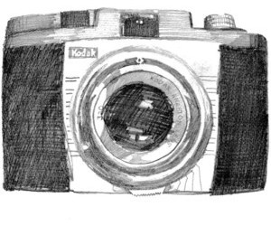 camera, drawing, and kodak image