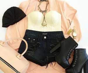 black, pink, and chic image