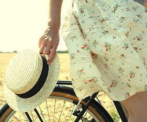 hat, bike, and vintage image