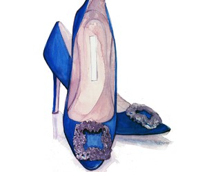 Carrie Bradshaw, manolos, and fashion illustration image