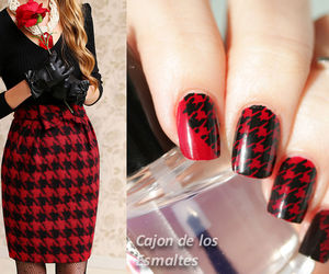 black, nail art, and red image