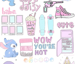 wallpaper, pink, and stitch image