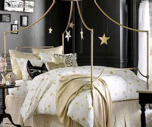 bedroom, gold, and stars image