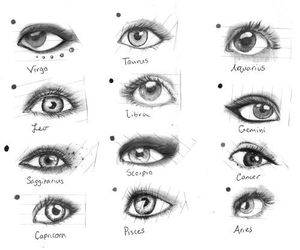 eyes, drawing, and zodiac image