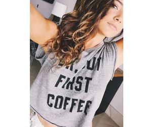 hair, bethany mota, and coffee image