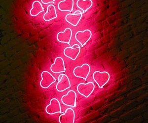 neon, hearts, and pink image