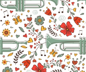 floral, flower, and music image