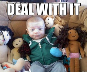 baby, funny, and doll image