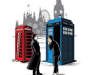 sherlock, doctor who, and tardis image