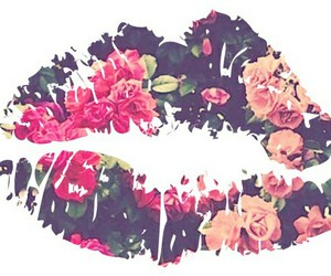 flowers, lips, and kiss image
