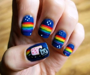 nails, cat, and nyan cat image