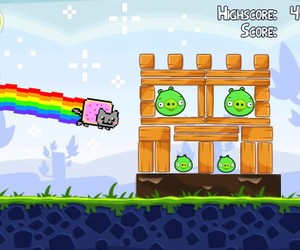 rainbow, angry birds, and nyan cat image