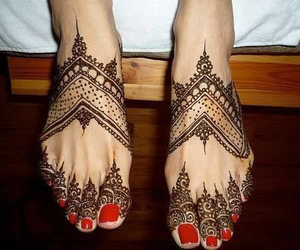 henna, feet, and red image
