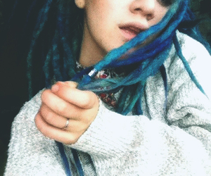 blue hair, dreadlocks, and dreads image