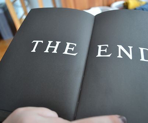 book, the end, and black image
