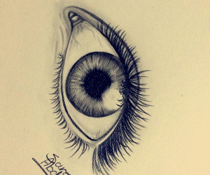 art, drawing eyes, and black and white image