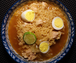 Chicken, egg, and instant noodles image