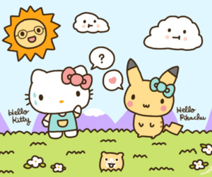 hello kitty, pikachu, and kawaii image