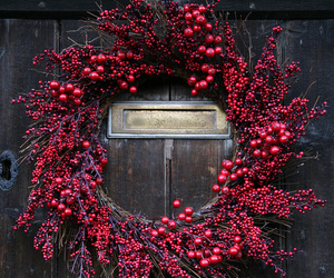 christmas, red, and door image