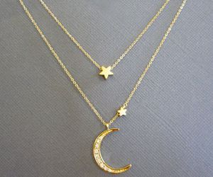 gold, jewelry, and moon image