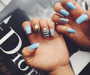 nails, blue, and dior image