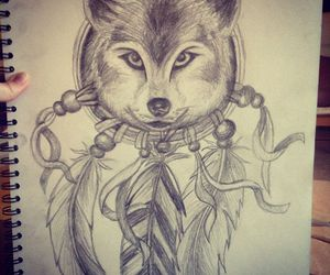 Dream, wolf, and dream catcher image
