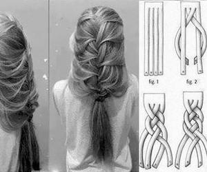 hair, peinado, and trenzas image
