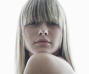 bangs, blonde, and freckles image