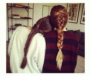 best friends, brunette, and long hair image