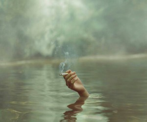 smoke, water, and cigarette image