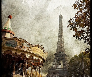 carousel, eiffel tower, and paris image
