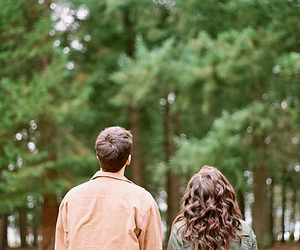forest, couple, and girl image