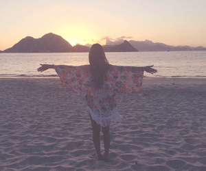 beach, floral, and open arms image