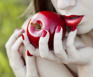 apple, red, and lips image