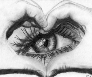 drawing, eye, and love image