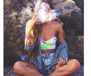 fashion, girl, and smoke image
