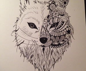 drawing, life, and wolf image
