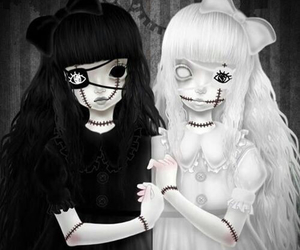 white, doll, and black image