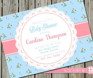 baby girl, floral, and invite image