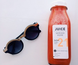juice, sunglasses, and drink image