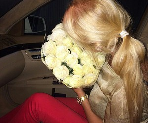 blonde, white roses, and fashion image