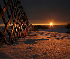 snow, sunset, and sun image