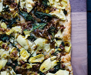 caramelized onions, puff pastry, and spinach and artichoke dip image